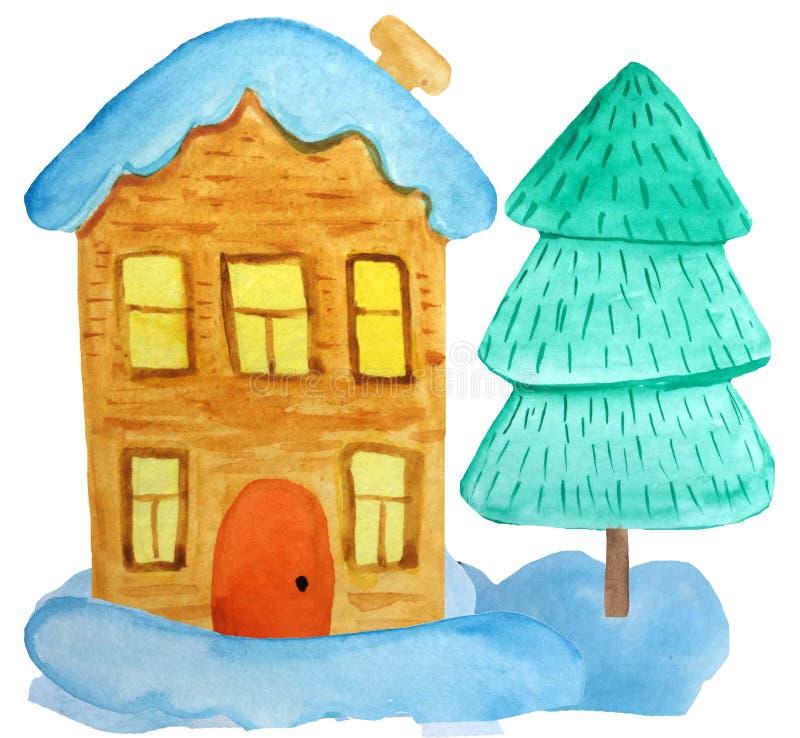 casa do Natal dos desenhos animados da Dois-história nos montes de neve e uma árvore em um fundo branco ilustração da aquarela pa fotografia de stock