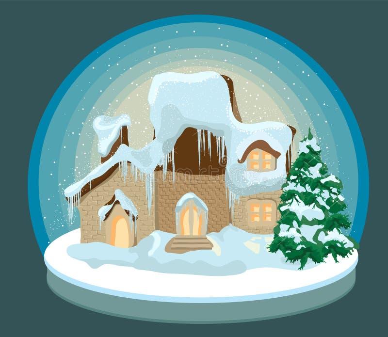 Casa do Natal na neve ilustração stock