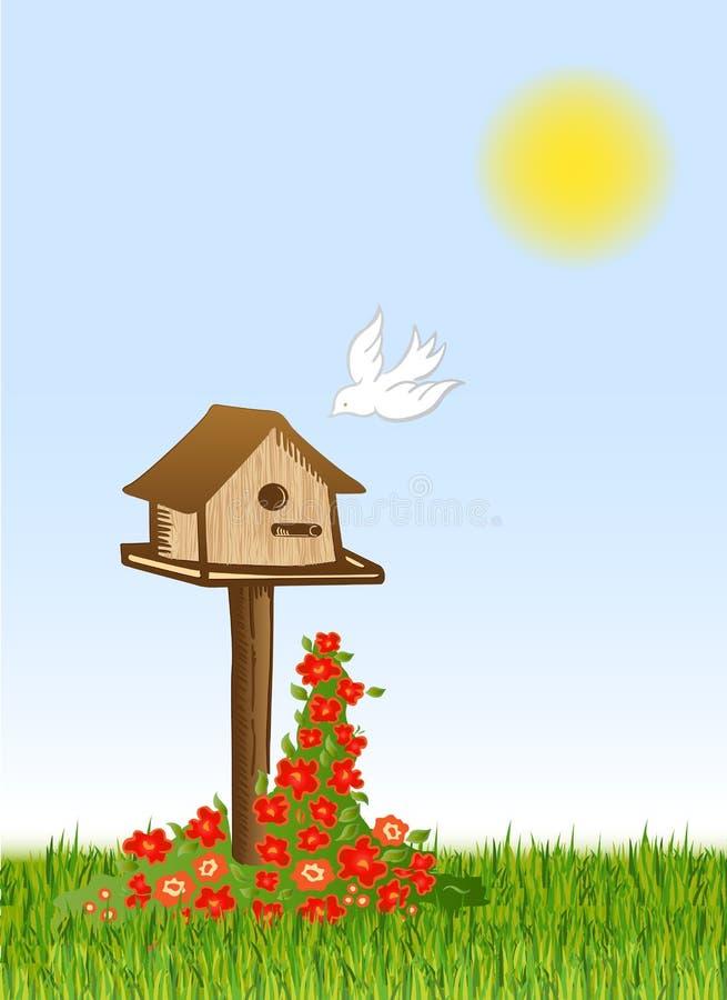 Casa do pássaro e do starling. Vetor ilustração royalty free