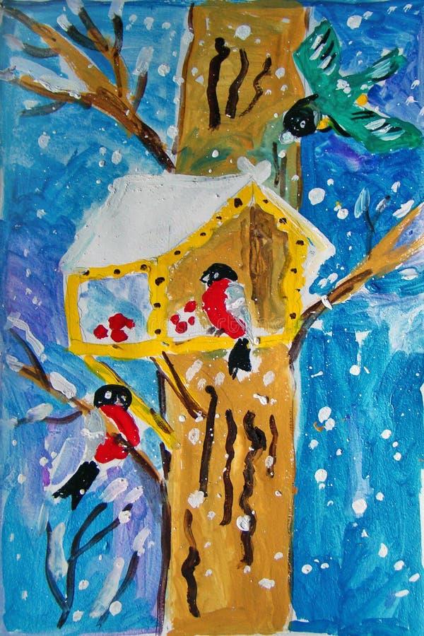 Casa do p?ssaro pintada pela crian ilustração stock