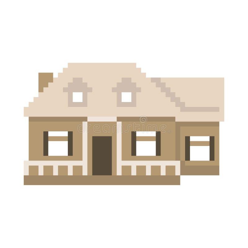 Casa do pixel isolada no fundo branco Gráficos para jogos bocado 8 Ilustra??o do vetor ilustração stock