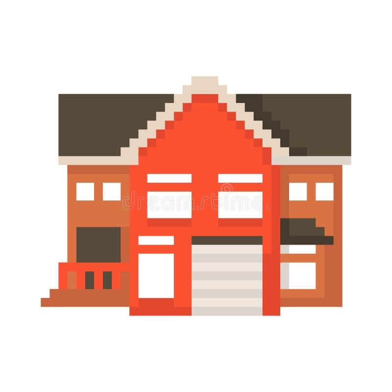 Casa do pixel isolada no fundo branco Gráficos para jogos bocado 8 Ilustra??o do vetor ilustração royalty free