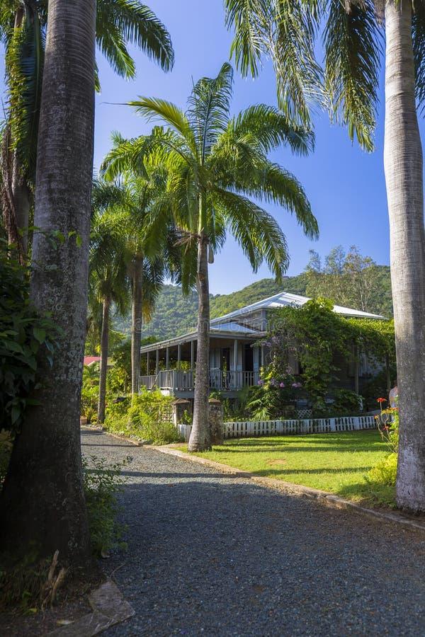 Casa do plantador no jardim botânico Cidade da estrada, Tortola imagem de stock
