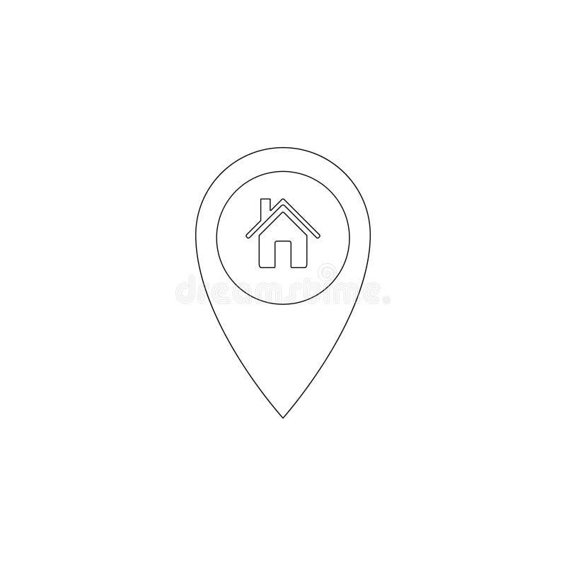Casa do ponteiro do mapa Marcador do lugar de casa ?cone liso do vetor ilustração do vetor