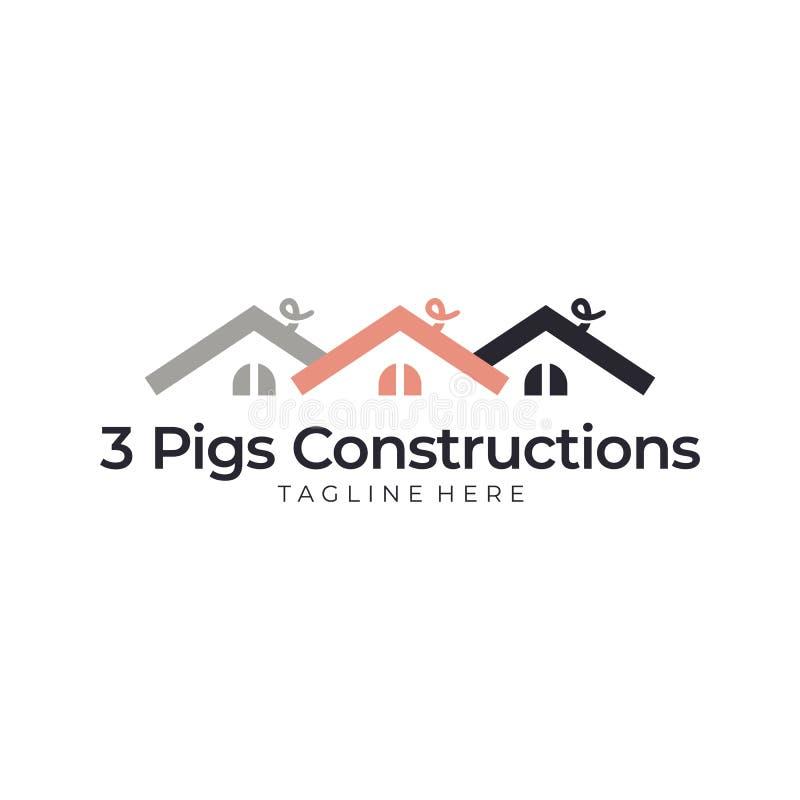 Casa do porco três ilustração do vetor