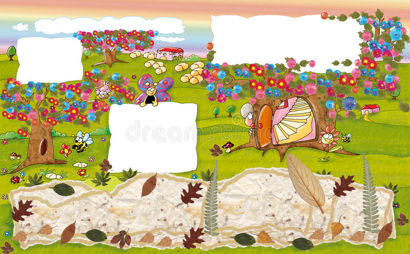 Casa do rato na árvore no outono ilustração stock
