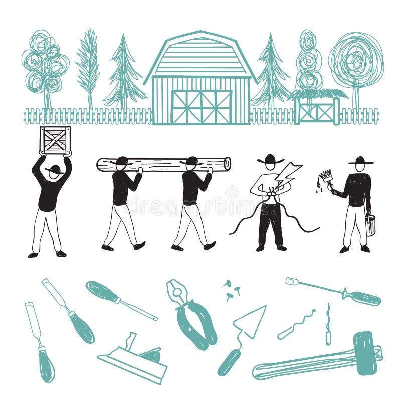 Casa do reparo dos trabalhadores da construção ilustração royalty free