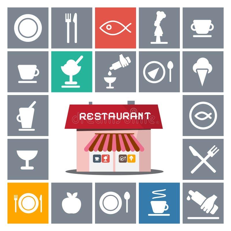 Casa do restaurante com ícones do vetor ilustração stock