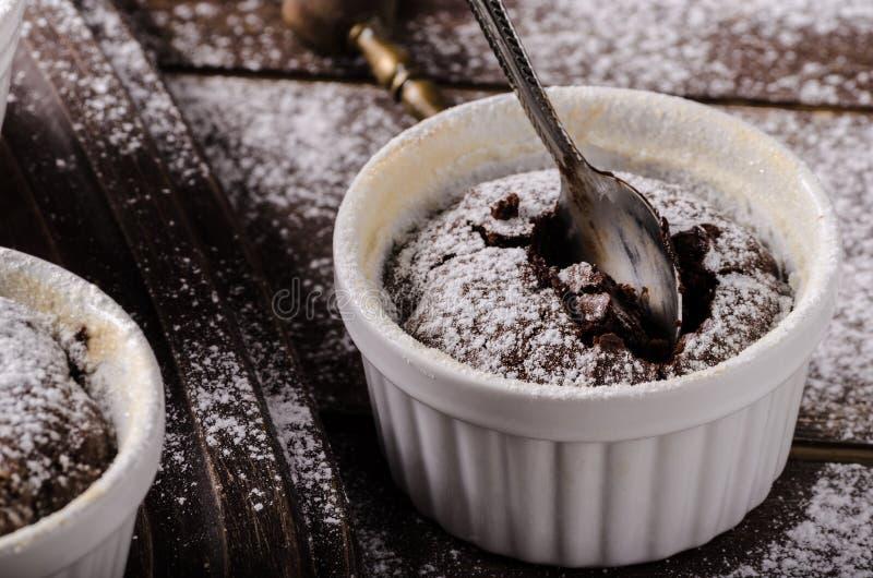Casa do souffle do chocolate imagens de stock