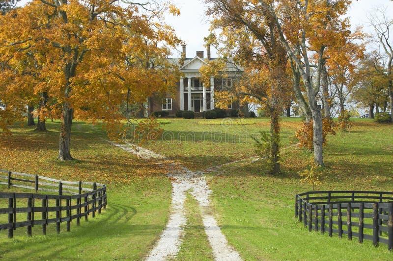 Casa do sul no país histórico do cavalo de Lexington Kentucky no outono foto de stock royalty free