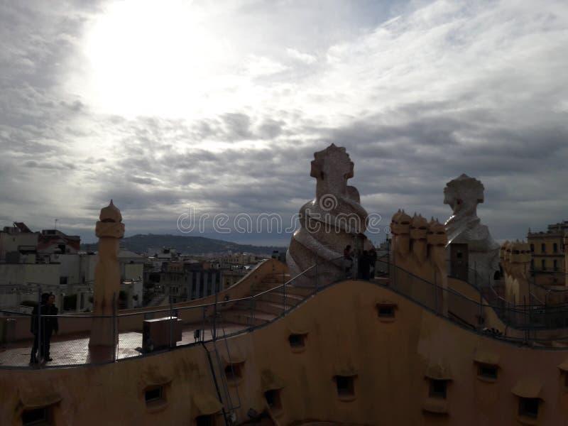 casa do telhado de spain Barcelona Dali imagem de stock royalty free