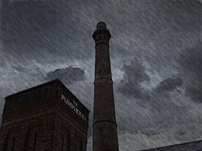 Casa do trabalho em uma tempestade imagens de stock royalty free
