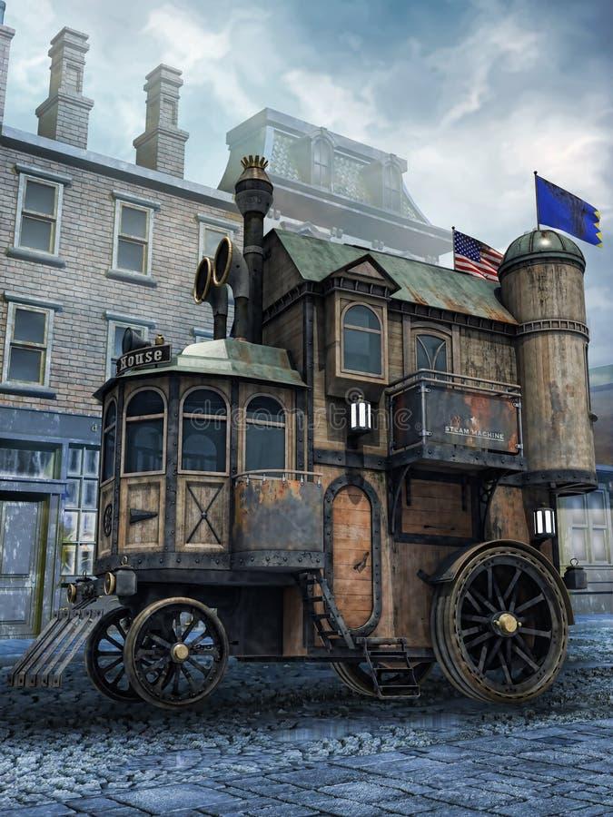 Casa do vapor da fantasia ilustração stock