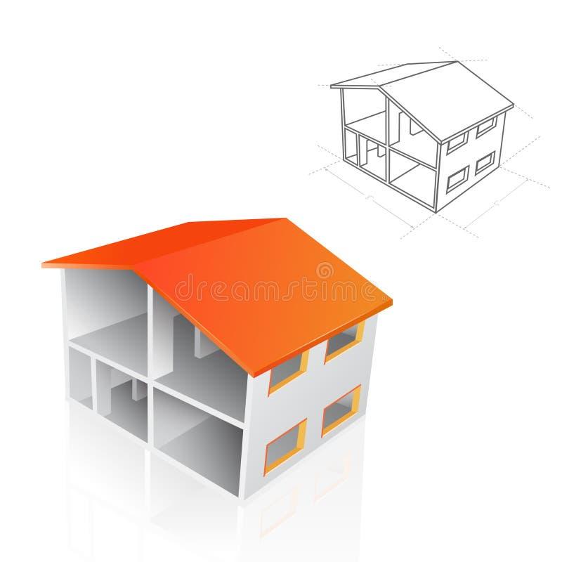 Casa do vetor e ilustração do modelo ilustração stock