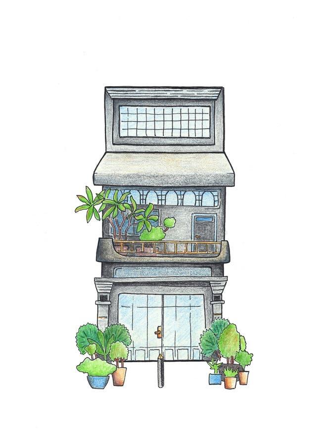Casa do vintage com tiragem dos potenciômetros de flor Esboço do curso de Camboja Cartão colorido de Siem Reap ilustração royalty free