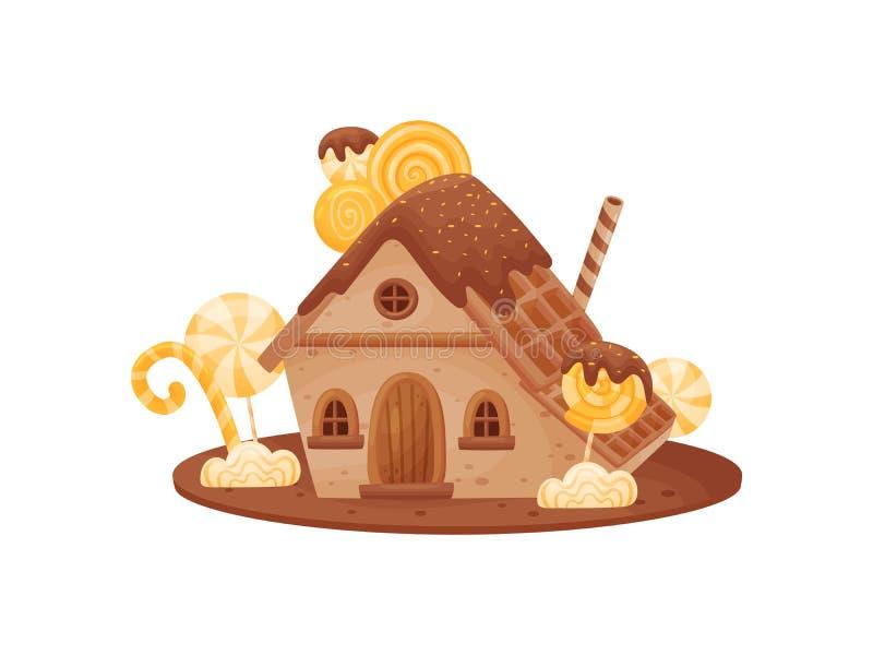 Casa doce com um telhado dos waffles Ilustra??o do vetor no fundo branco ilustração do vetor