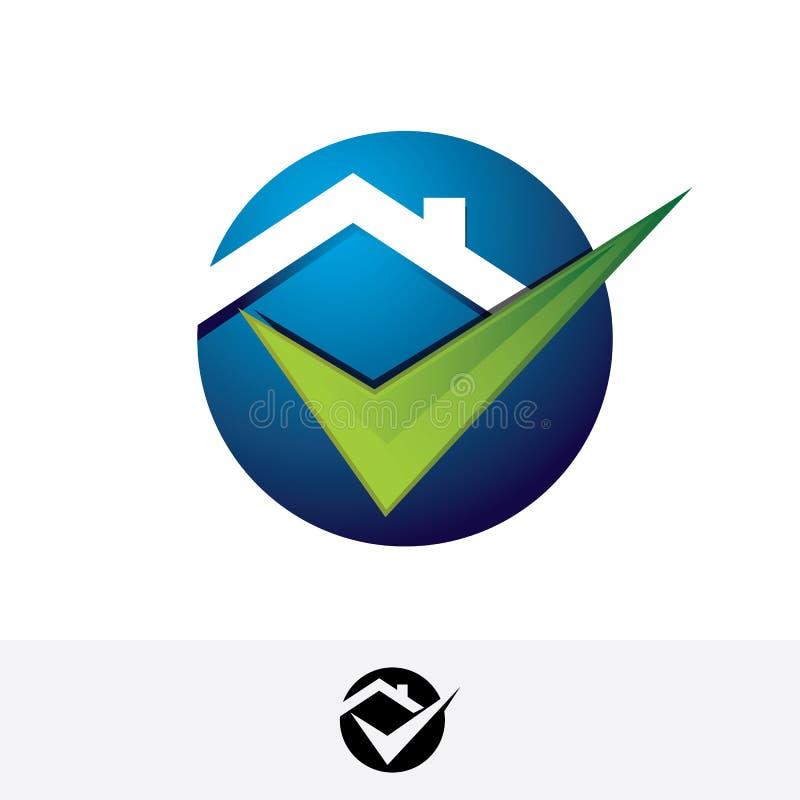 Casa dos bens imobiliários com logotipo do vetor da marca de verificação ilustração royalty free