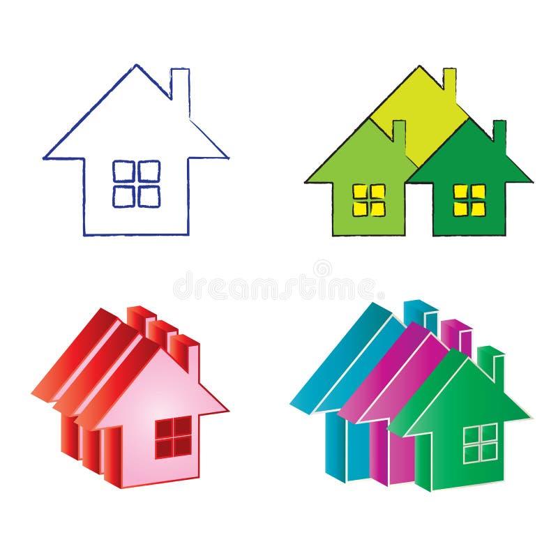 Casa dos bens imobiliários dos logotipos ilustração stock