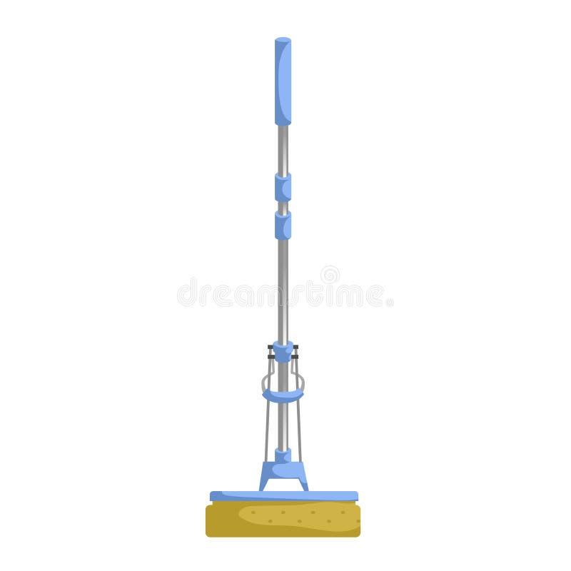 Casa dos desenhos animados e ícone do serviço da limpeza do apartamento Espanador azul plástico moderno do aperto do snonge ilustração do vetor
