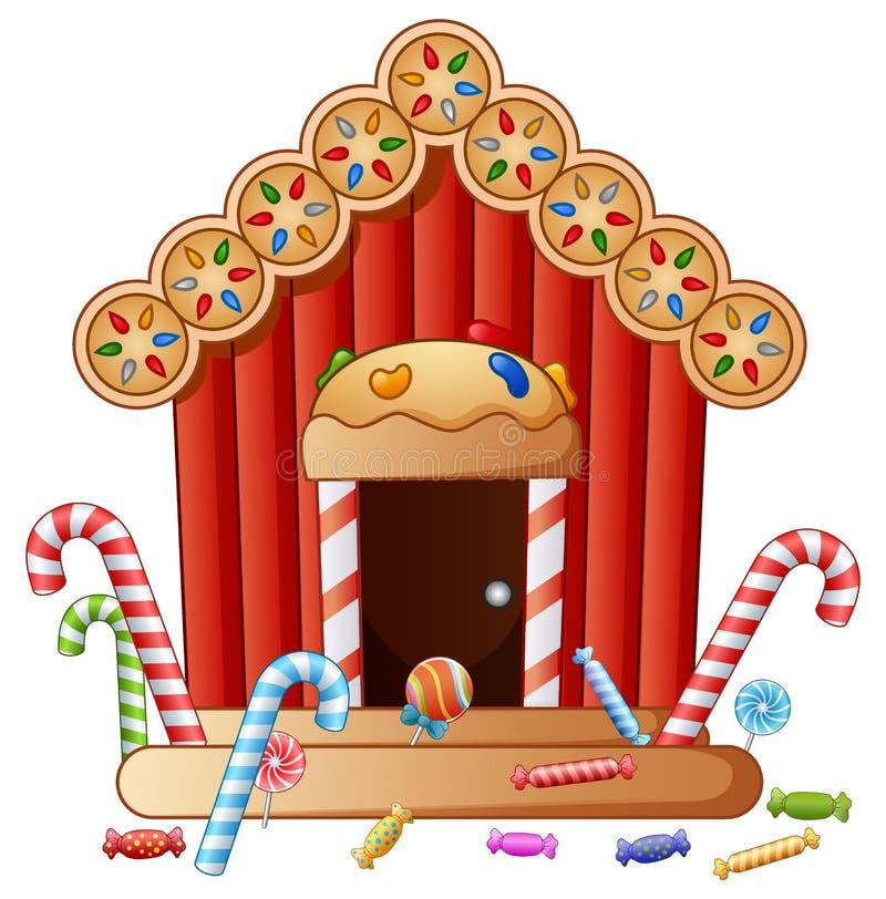 Casa dos doces do pão-de-espécie ilustração stock