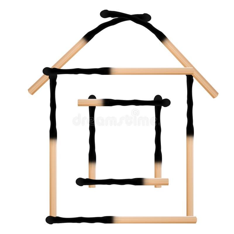 Casa dos fósforos queimados ilustração do vetor