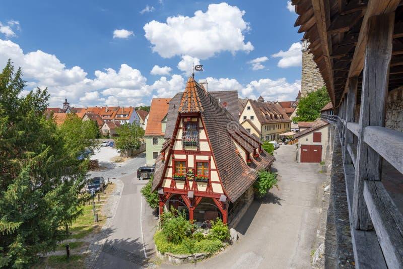 Casa dos ferreiros, der Tauber do ob de Rothenburg, Baviera, Alemanha fotos de stock