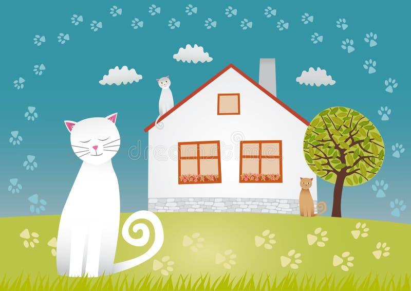 Casa dos gatos ilustração do vetor