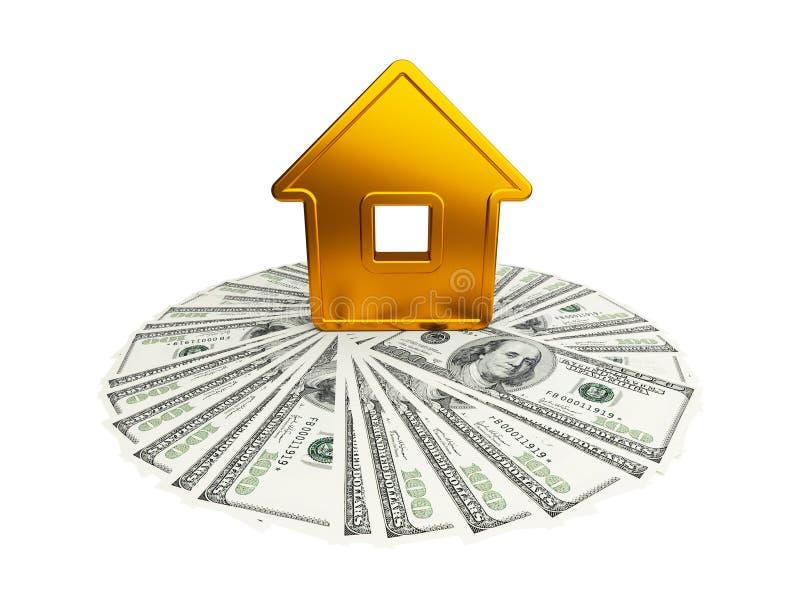 Casa dourada abstrata com um cem-dólar ilustração stock