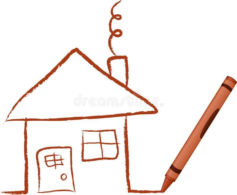 Casa drenada creyón stock de ilustración