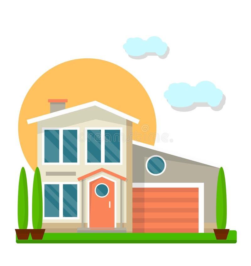Casa due-pavimentata residenziale isolata sull'illustrazione variopinta di vettore bianco illustrazione di stock