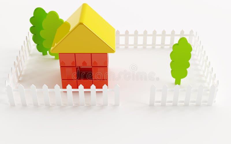Casa e árvores do brinquedo ilustração royalty free