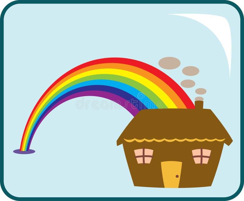 Casa e arco-íris ilustração do vetor