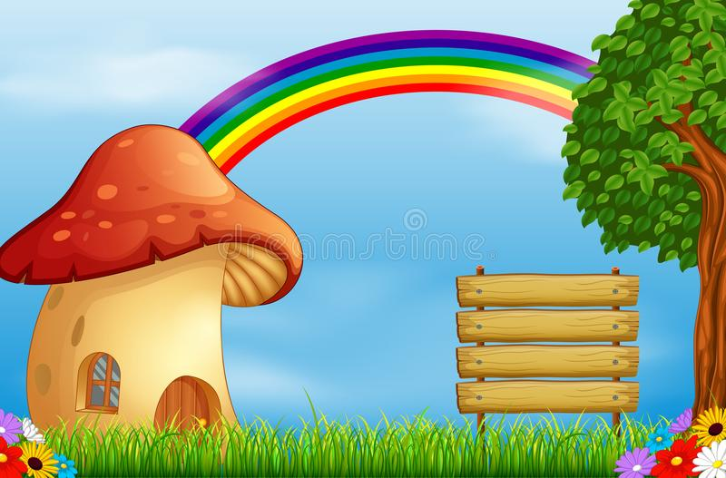 Casa e arco-íris vermelhos do cogumelo na floresta ilustração royalty free