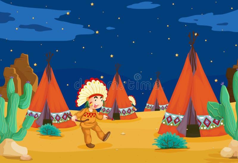 Casa e bambino della tenda illustrazione di stock