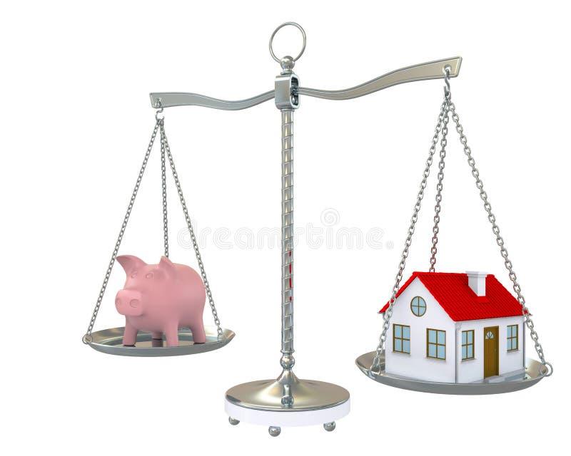 Casa e banco piggy na escala imagem de stock