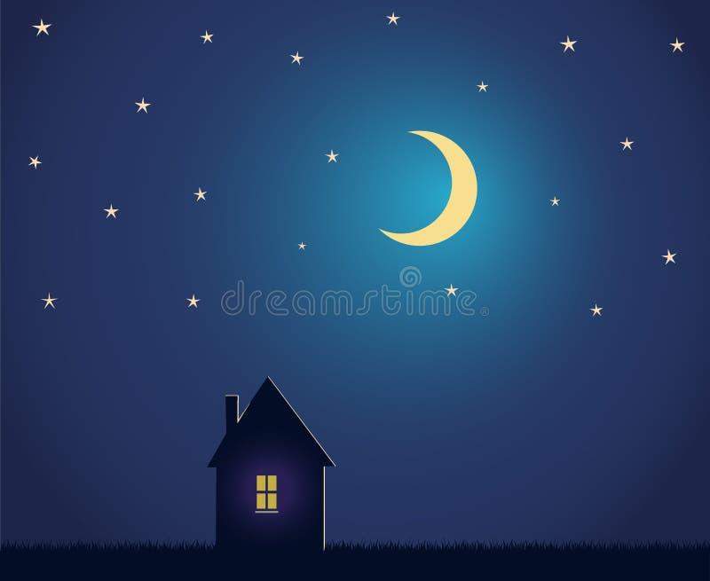 Casa e céu noturno com estrelas e lua ilustração stock