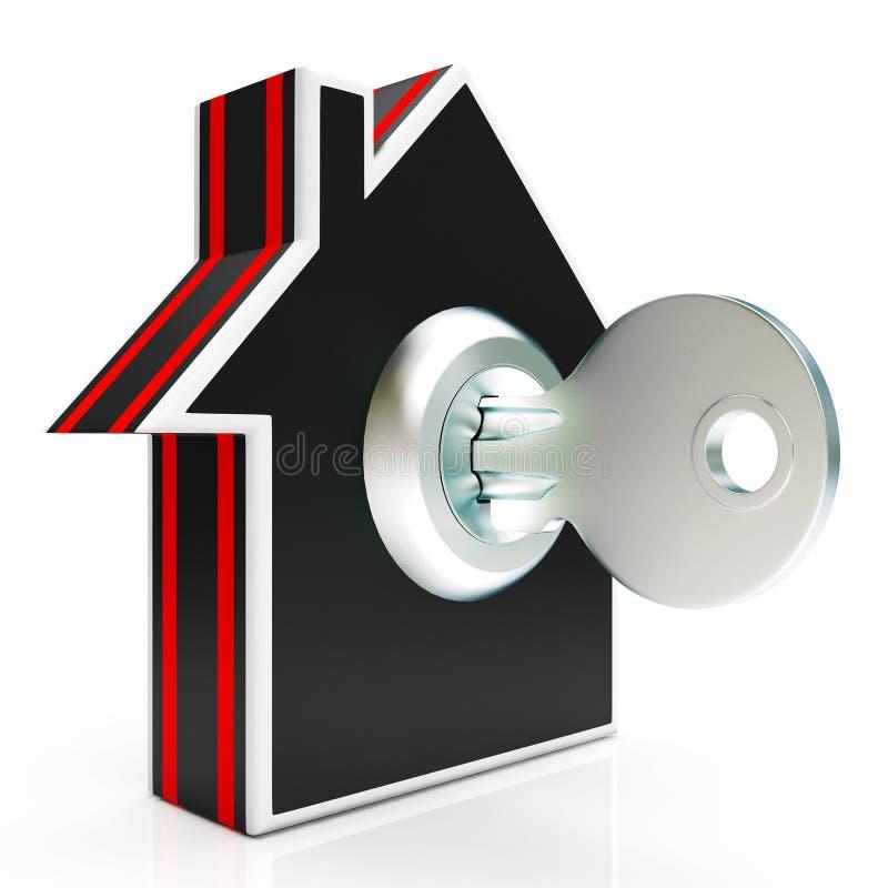 Casa e casa das mostras da chave segura ou fechado fotos de stock royalty free