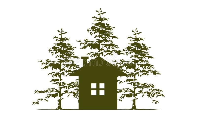 Casa e Cedar Tree ilustração stock