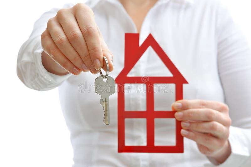 Casa e chaves imagens de stock