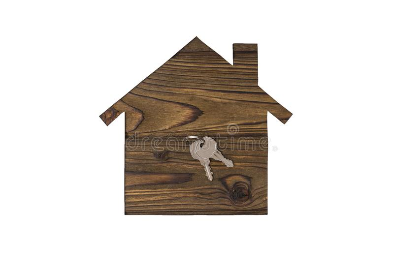 Casa e chiavi di concetto isolate su fondo bianco immagini stock libere da diritti