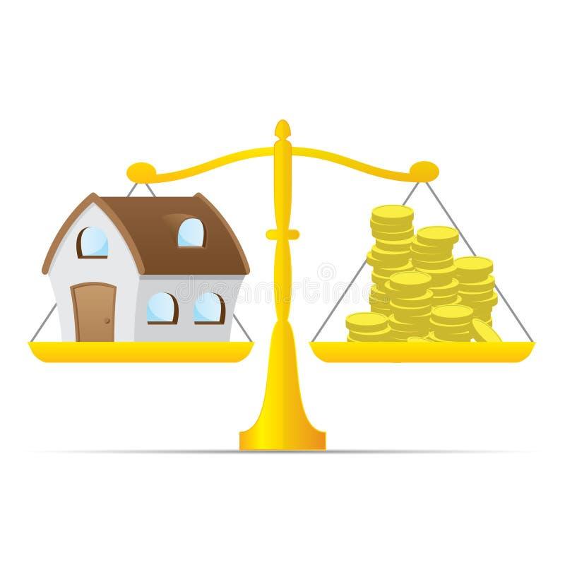 Casa e dinheiro na escala do equilíbrio ilustração do vetor