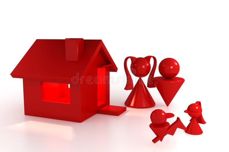 Casa e família ilustração royalty free