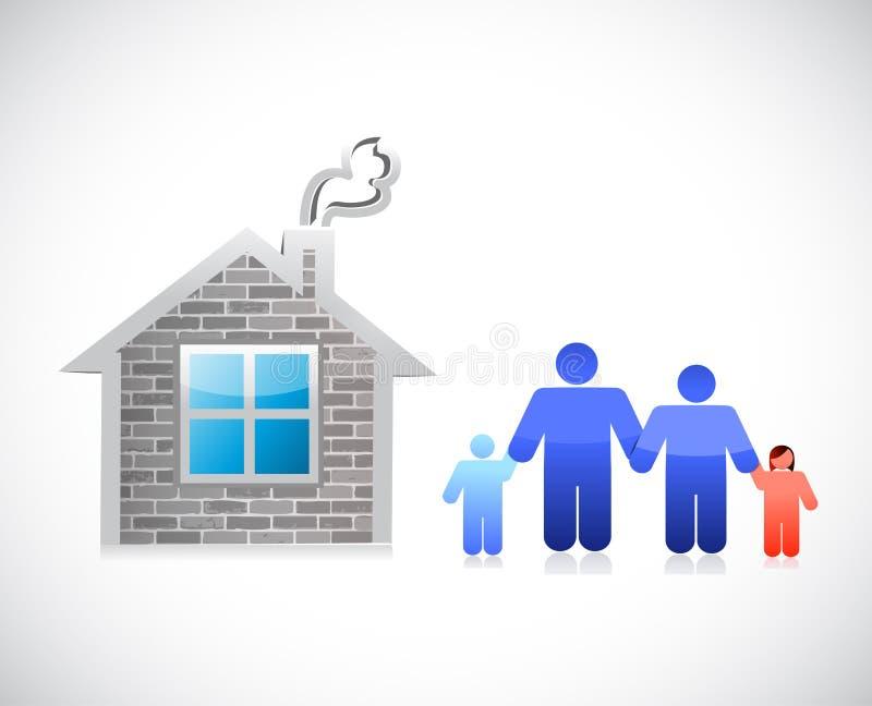 Casa e famiglia progettazione dell'illustrazione della casa con mattoni a vista illustrazione vettoriale