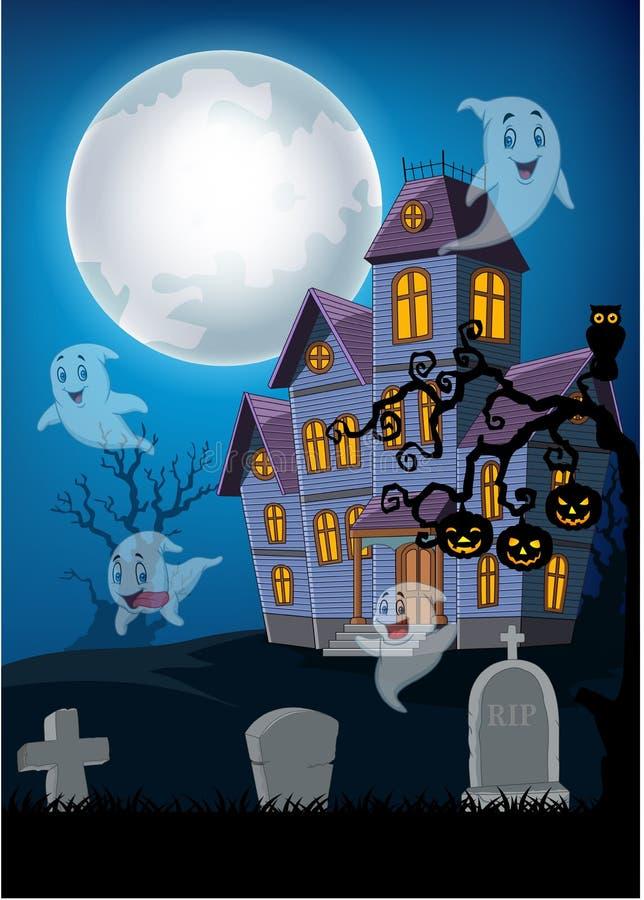 Casa e fantasma frequentati con il fondo di Halloween illustrazione vettoriale