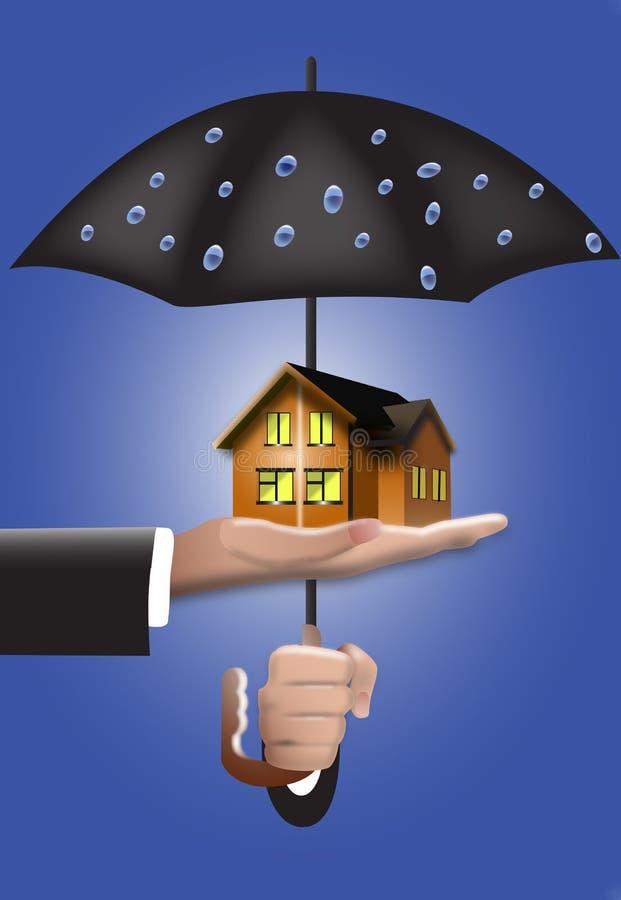 Casa e guarda-chuva ilustração do vetor