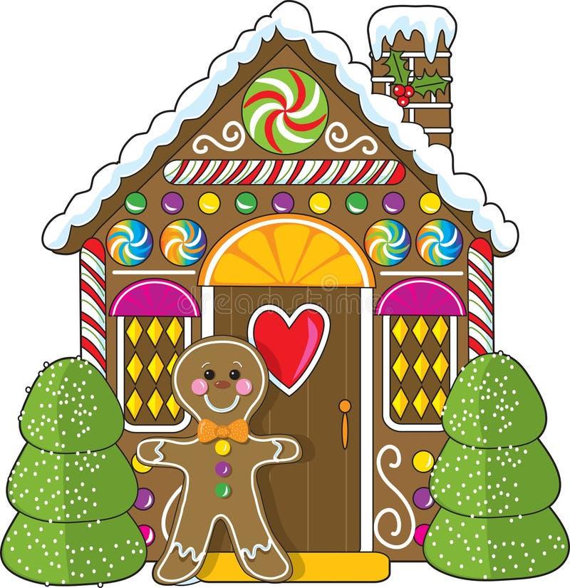 Casa e homem de pão-de-espécie ilustração royalty free