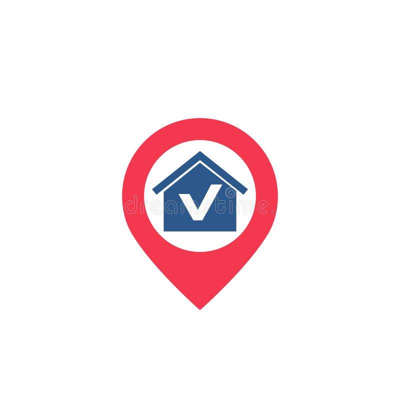 Casa e icono de punta stock de ilustración