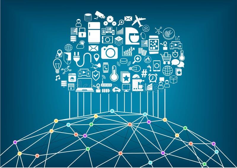 Casa e Internet espertos do conceito das coisas Nuvem que computa para conectar um com o otro dispositivos sem fios globais ilustração do vetor
