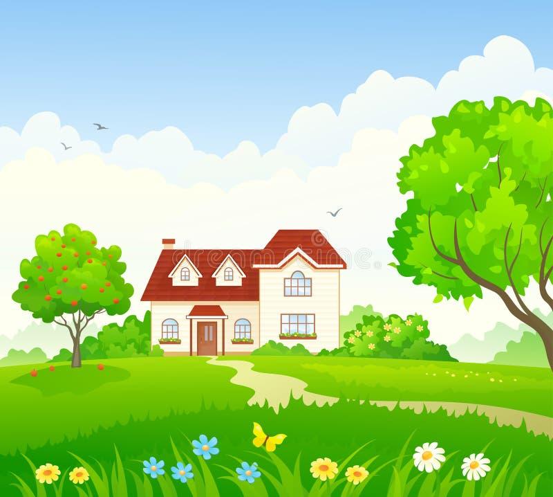 Casa e jardim de verão ilustração do vetor