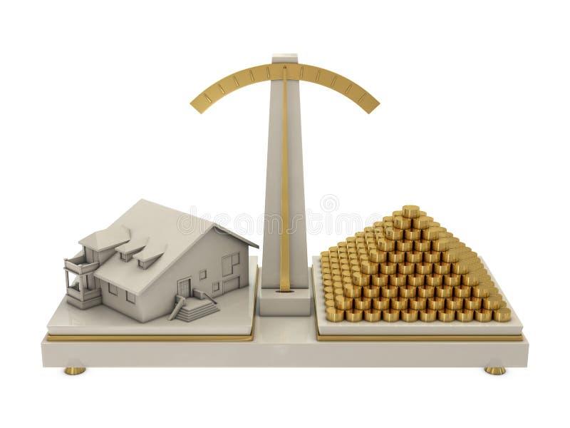 Casa e moedas no balanço ilustração do vetor